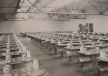 Old photograph of the center's mess hall